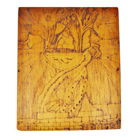 Vintage Pyrography Floral Wall Art