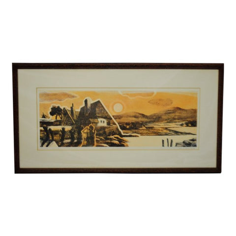 Vintage Framed Limited Edition Landscape Serigraph - Signed and Numbered
