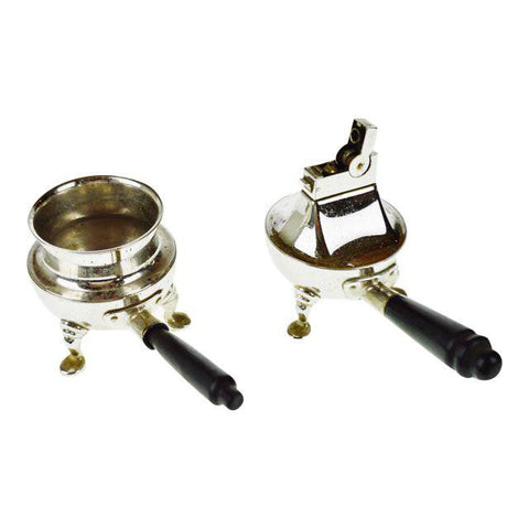 2 Piece Vintage Rhodium Finish Lighter and Ashtray Set