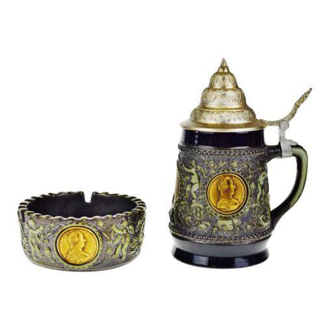 Original King 2 German Lidded Beer Stein and Matching Ashtray