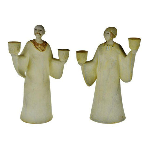 Pair of Vintage Ceramic Figural Candle Holders - Signed MSB