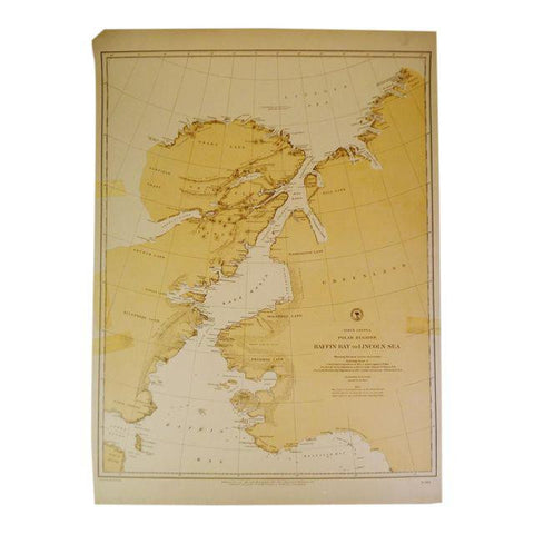 1885 Nautical Chart North American Polar Regions Baffin Bay To Lincoln Sea No. 962
