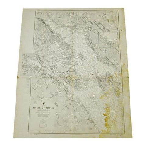 1927 North America Canada Nova Scotia Halifax Harbor Nautical Chart No. 2534