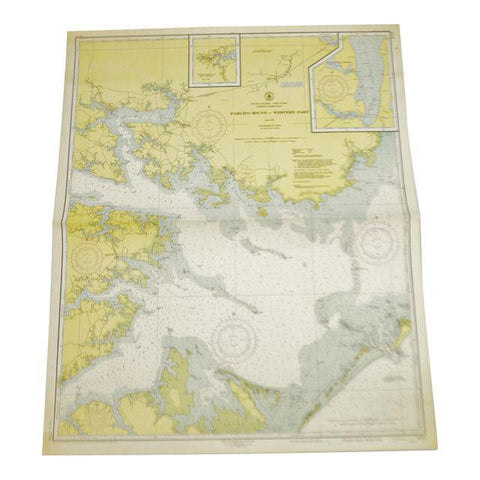 1951 U.S. East Coast NC Pamlico Sound Western Part Nautical Chart No. 1231