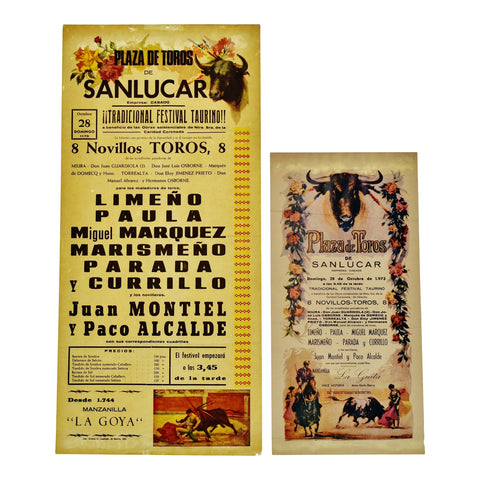 Vintage Plaza De Toros De Sanlucar 1973 Sevilla Bullfight Posters - Group of 2