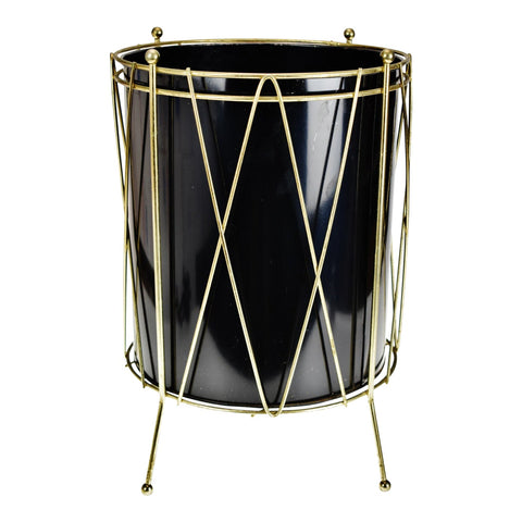 Vintage Black Metal Drum Look Wastebasket