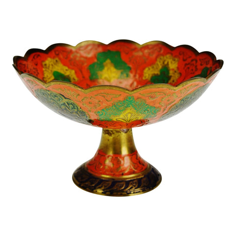 Vintage Enamel Painted India Brass Compote
