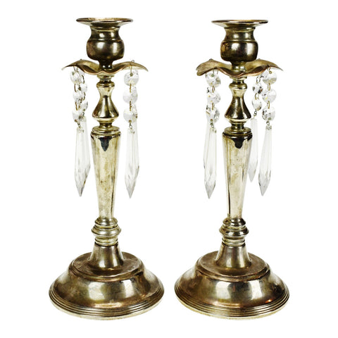 Vintage Silver Colored Prism Candle Holders - A Pair