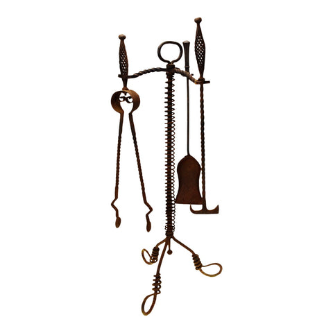 Antique Twisted Wrought Iron Fireplace Tools