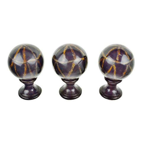 Set of 3 Decorative Curtain Rod Finials/Tiebacks