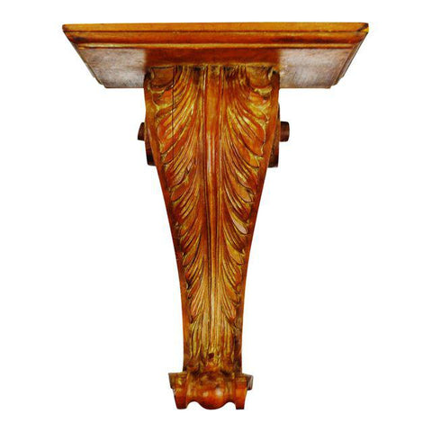 Vintage Italian Hand Carved Wood Corbel Wall Shelf