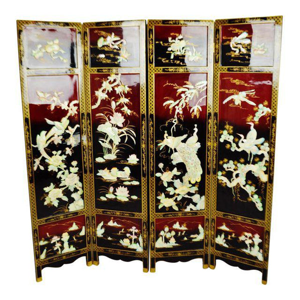 Vintage Chinese Lacquered Black And Red Folding Screen