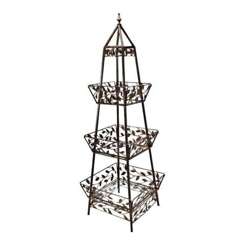 Vintage 6' Wrought Iron Folding Display Stand Obelisk Etagere