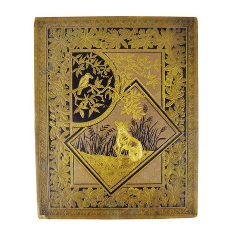 Antique Victorian Album Cover, Wolf Design - Xmas 1881 on Reverse