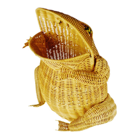 Vintage Natural Wicker Frog Planter Basket