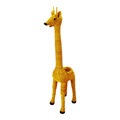 "Vintage Natural Wicker 61"" Giraffe Planter"