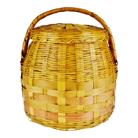 Vintage Woven Wicker Lidded Basket