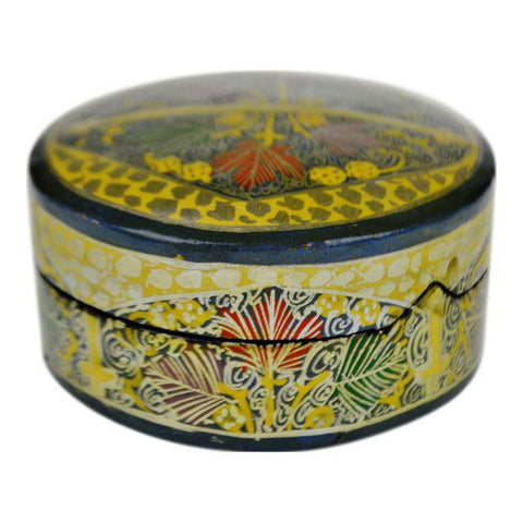 Vintage Hand Painted Lacquerware Box with Lid Made in India
