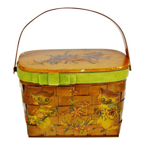 Vintage Woven Wood Decoupage Lidded Basket with Kitten Design