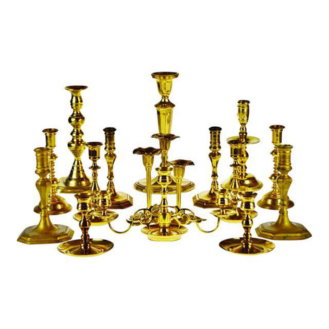 Vintage Brass Candlesticks, Virginia Metalcrafters, Baldwin, Seiden - Group of 15