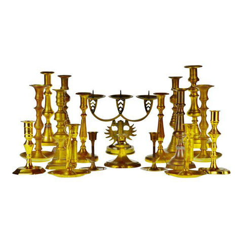 Antique Brass Candlestick Holders - Group of 18