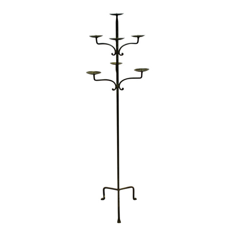 Vintage Wrought Iron 7 Light Floor Candle Stand