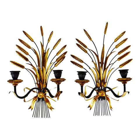 Vintage Italian Tole Wheat Sheaf Candle Wall Sconces - A Pair