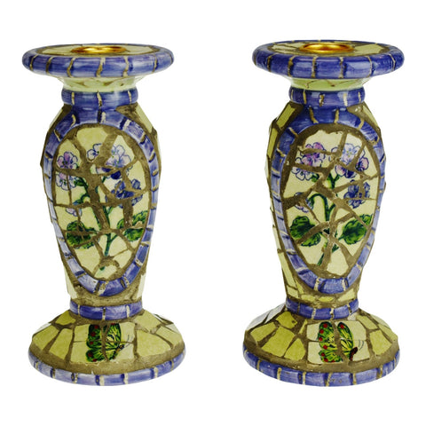 Vintage Mosaic Tile Candle Holders - A Pair