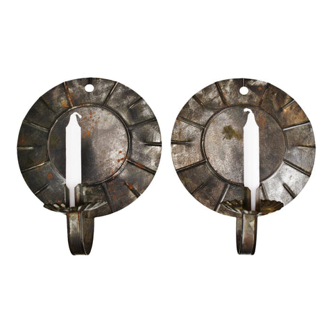 Vintage Tin Candle Wall Sconces with Reflector Backplate - A Pair