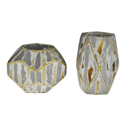 Vintage Geometric Faceted Votive Candle Holders - A Pair