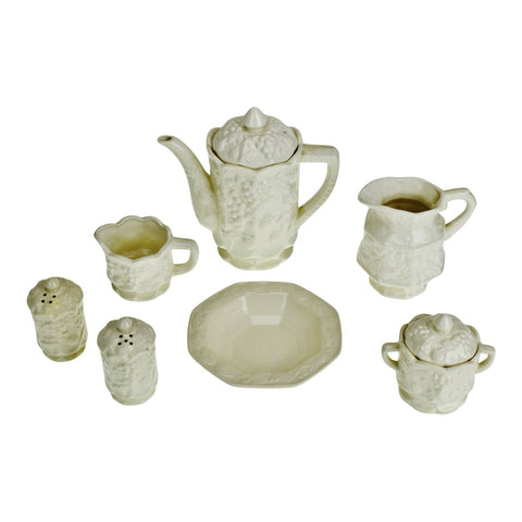 Vintage Ceramic Teapot and Serving Accessories - Group of 7