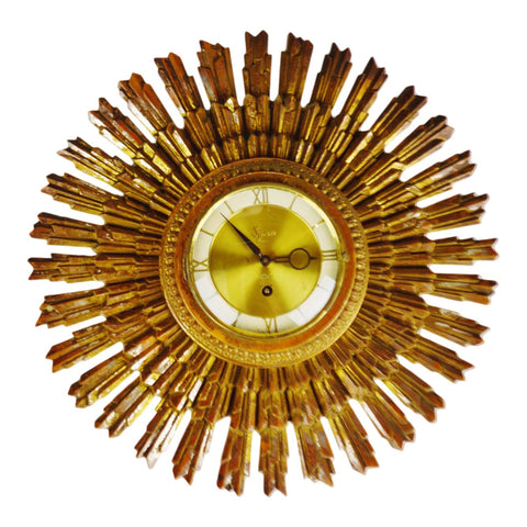 Mid Century Syroco Wood Sunburst 8 Day Jeweled Wall Clock
