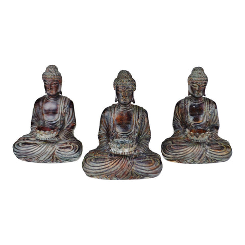 Vintage Asian Sitting Buddha Tealight Candle Holders