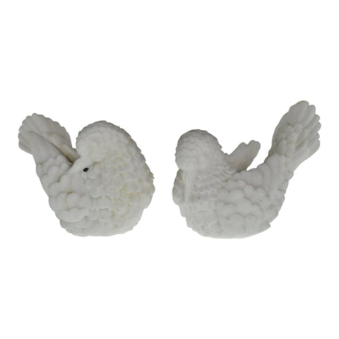 Vintage Italian Carved White Alabaster Dove Figurines - A Pair