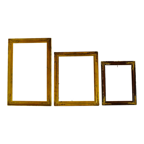 Antique Victorian Picture Frames w/ Brass Corner Adornments - Group of 3