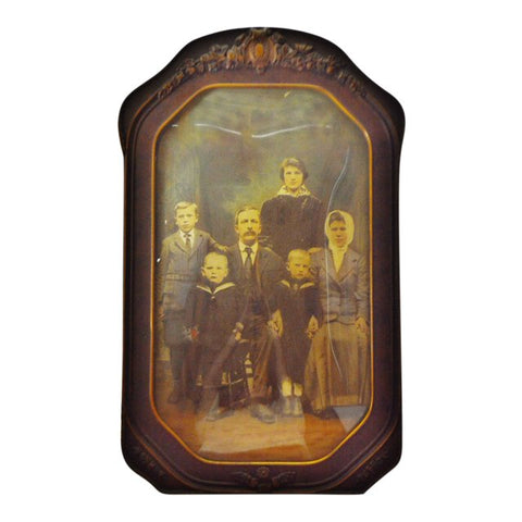Victorian Decorative Gesso Wood Frame with Convex Glass