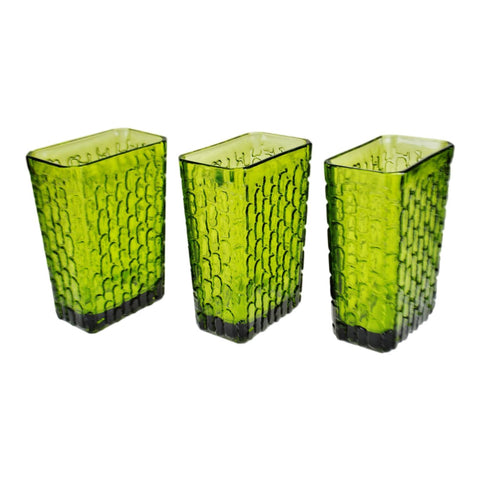 Vintage Anchor Hocking Avocado Green Glass Vases - Set of 3