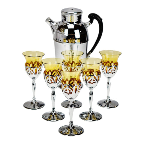 Art Deco Farber Krome Craft Amber Glass Cocktail Set - 7 Piece Set