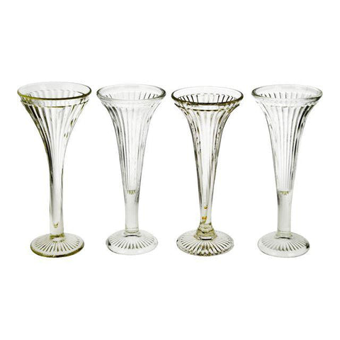 Vintage Fluted Glass Centerpiece Stands - Group of 4