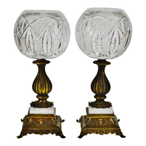 Vintage Cut Glass Compotes with Italian Marble Bases - A Pair