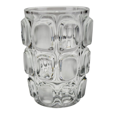 Vintage Geometric Relief Design Frosted to Clear Glass Vase