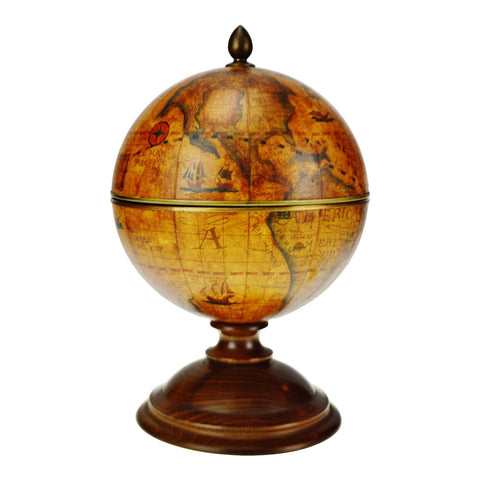 Vintage World Globe Table Top Ice Bucket w/ Wooden Base
