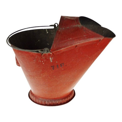 Antique Red Metal Coal Scuttle