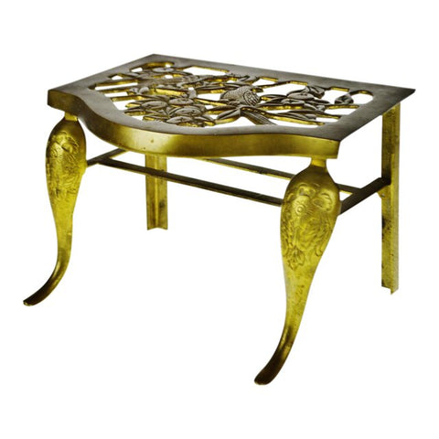 Vintage Brass Footman Stool with Bird Design