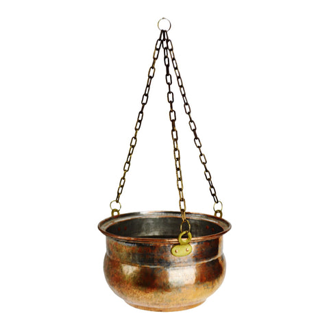 Vintage Hammered Copper Look Hanging Planter