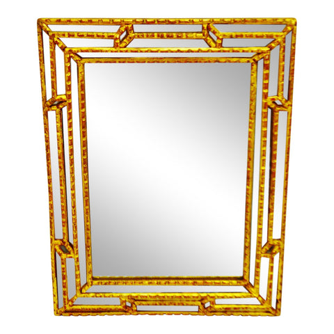Antique French Victorian Style Gilt Paneled Wall Mirror