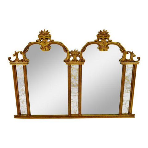 Vintage 5 Panel Mantel Mirror with Antiqued Glass 68 x 48