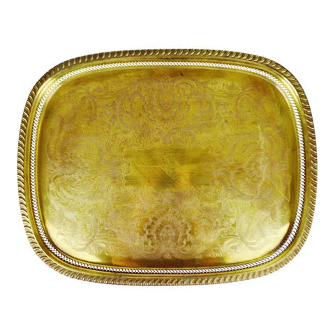 Vintage Large Reticulated and Etched Brass Serving Tray