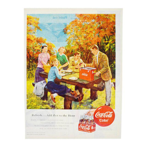 Vintage 1950 Coca Cola Print Ad, Refresh... Add Zest To The Hour
