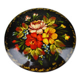 Vintage Hand Painted Floral Black Lacquered Brooch Hand Made in Russia